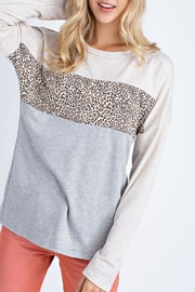 12pm by Mon Ami Oatmeal Leopard Sweater - Front cropped