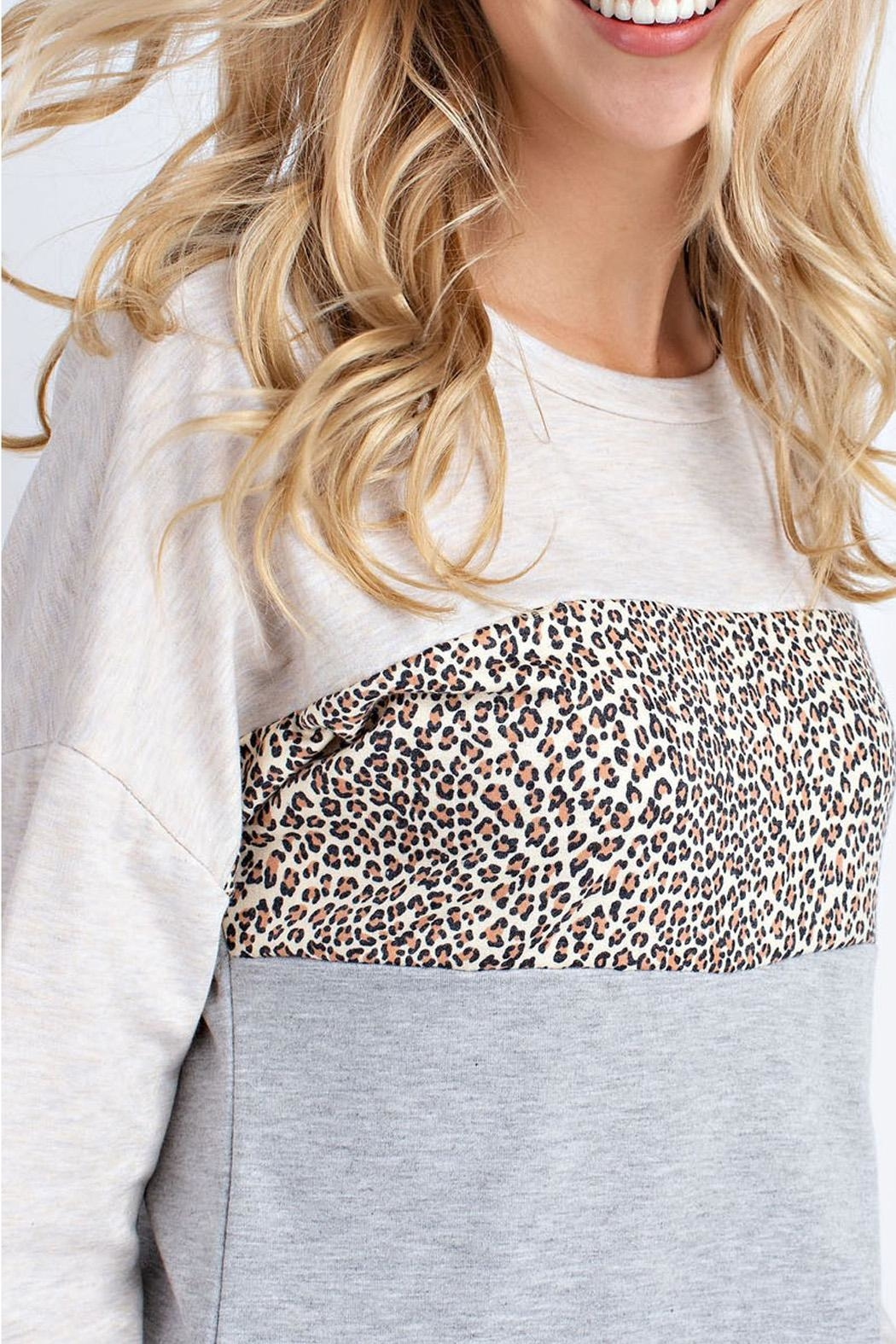12pm by Mon Ami Oatmeal Leopard Sweater - Front Full Image