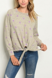 Lyn -Maree's OATMEAL LILAC WITH DOTS - Front cropped