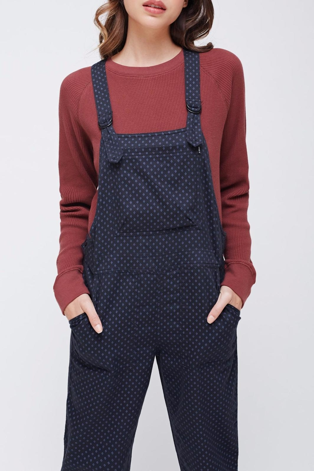 Obey Patterned Bib Overalls - Front Full Image