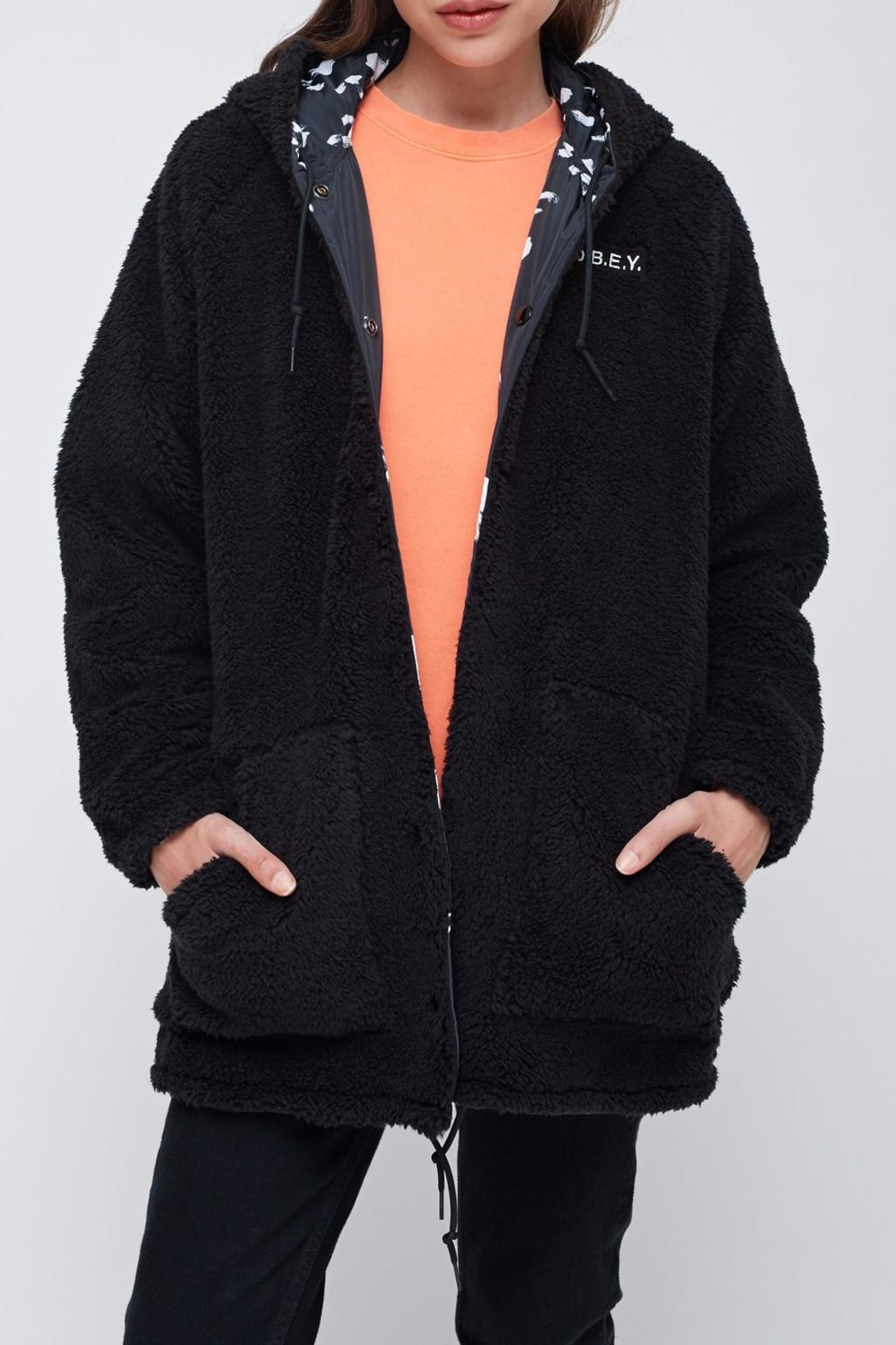 Obey Reversible Sherpa Coat - Side Cropped Image