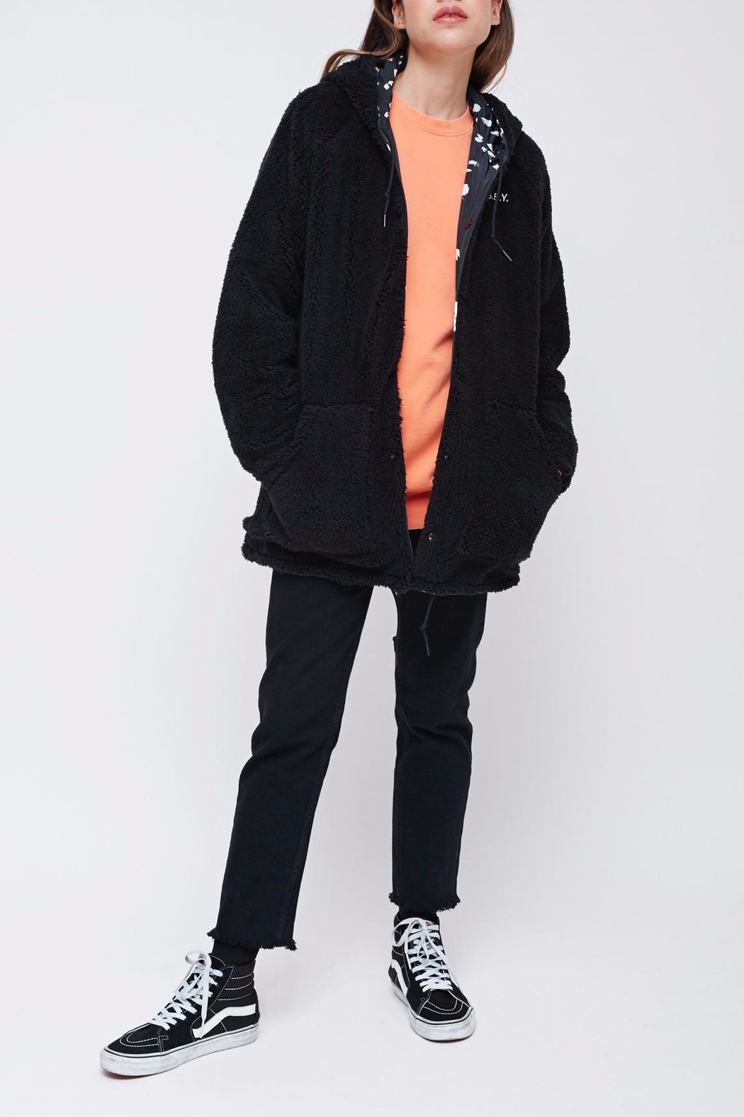 Obey Reversible Sherpa Coat - Back Cropped Image