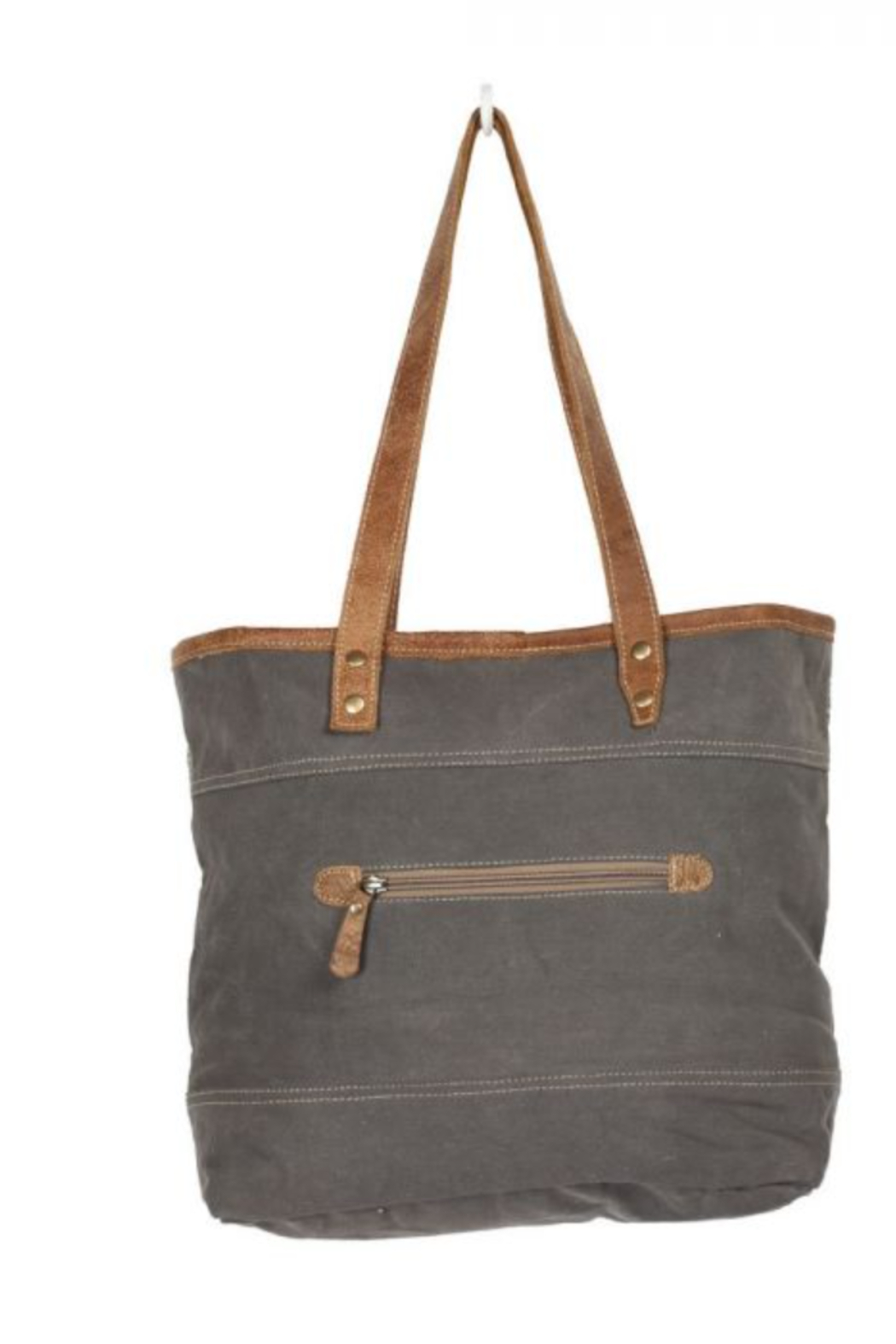 MarkWEST-Myra Bag Object d'art Leather Strip Tote Bag - Front Full Image