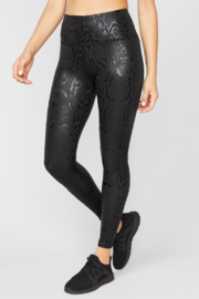 Terez Obsidian Snakeskin Foil Super-High Band Leggings - Product Mini Image