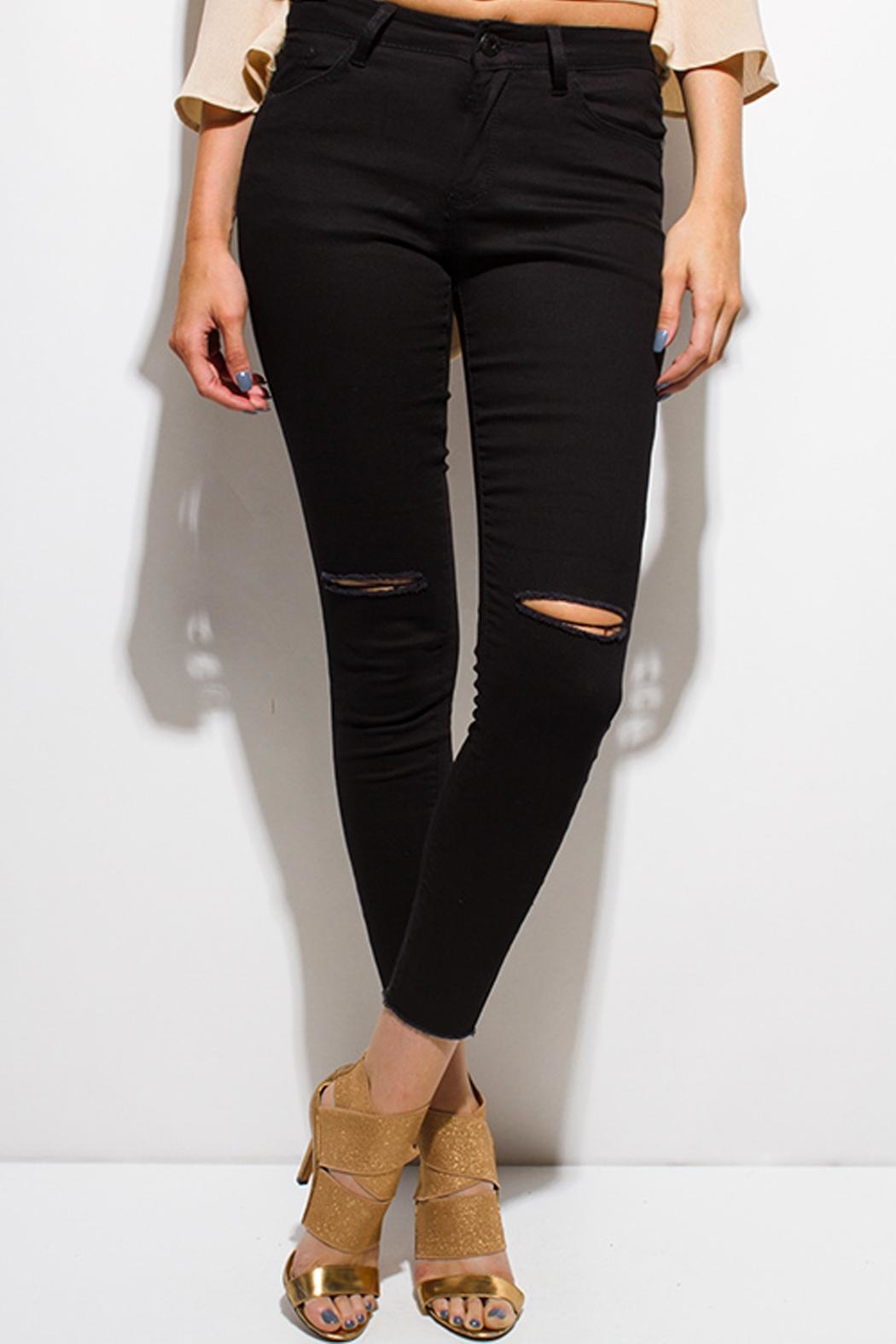 OC Avenue Black Distressed Jeans - Front Full Image