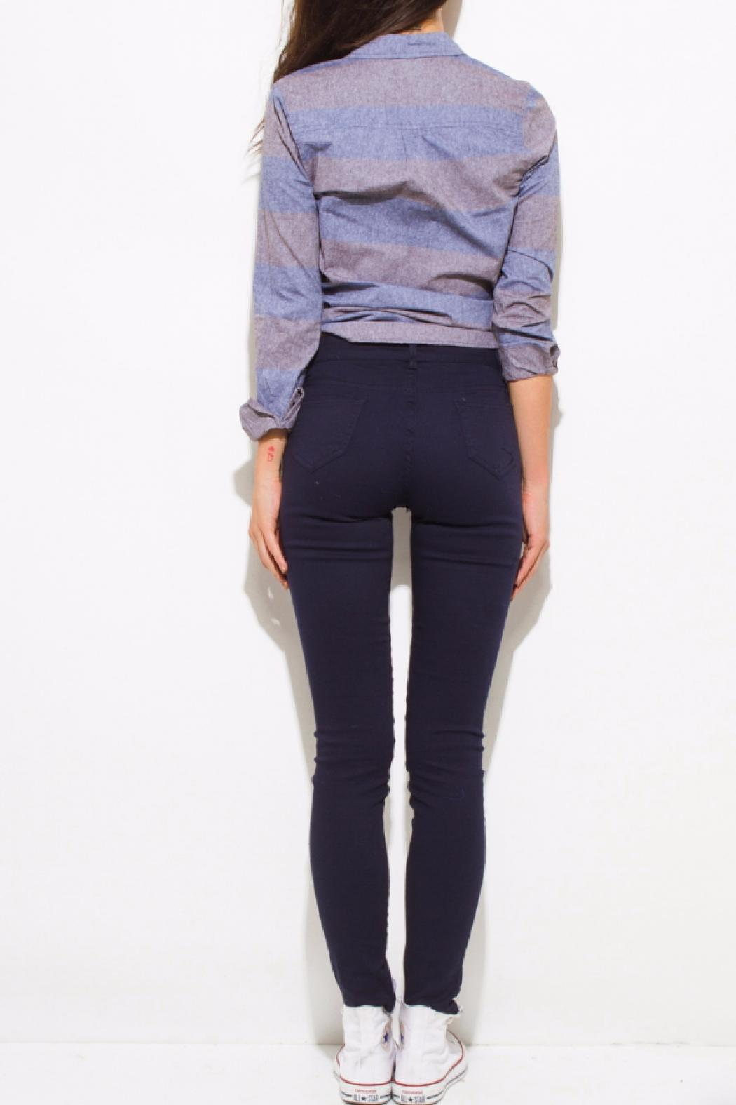 OC Avenue Stretch Navy Jeans - Back Cropped Image