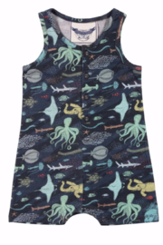 Paper Wings Ocean Animals Baby Romper - Front cropped
