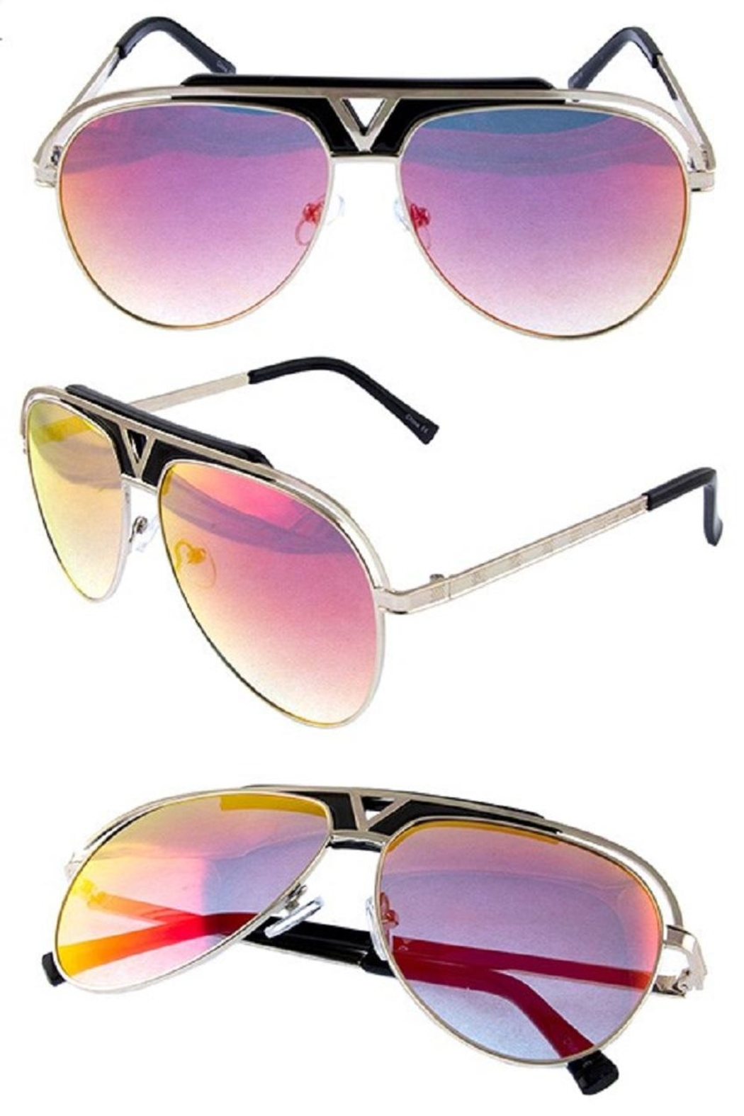 Ocean and Land Glamour Aviator Sunglasses - Front Cropped Image