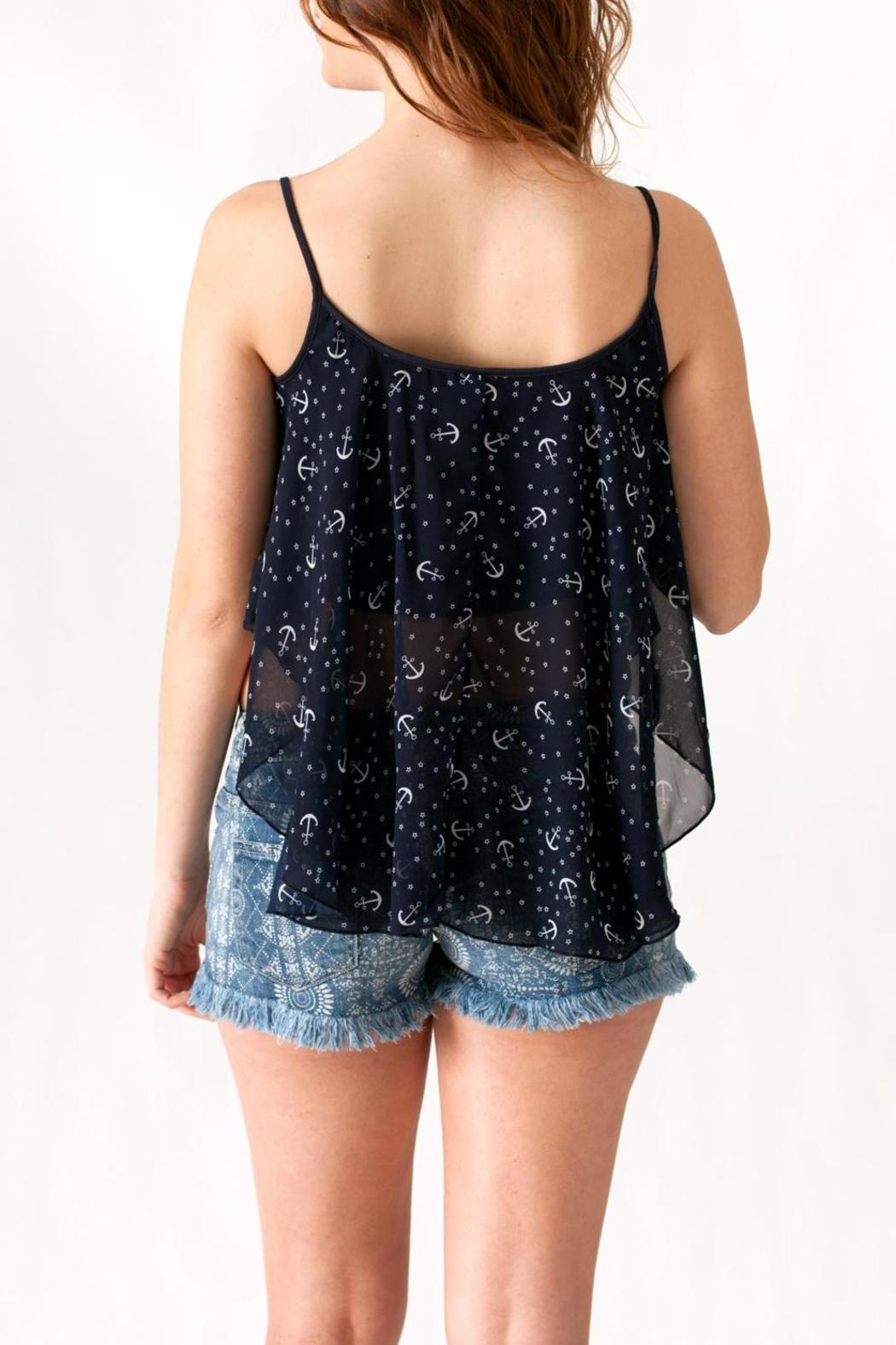 Ocean Drive Anchor Print Tank - Back Cropped Image