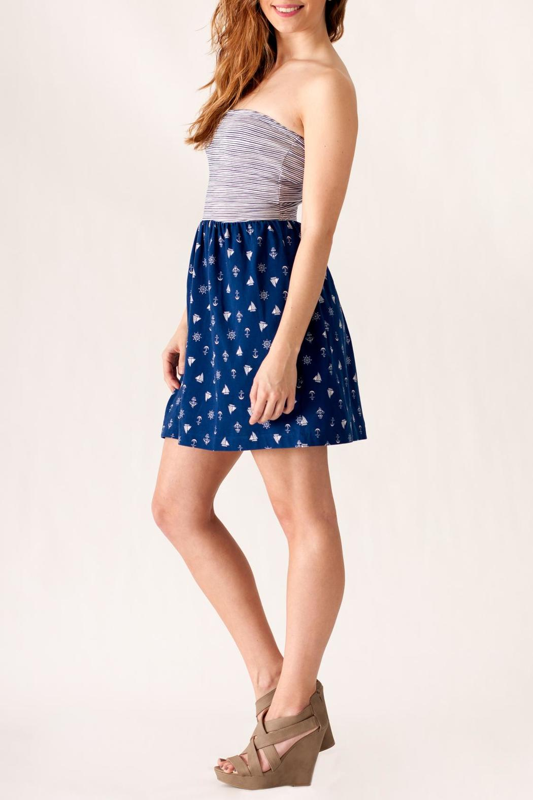 Ocean Drive Nautical Print Dress - Side Cropped Image