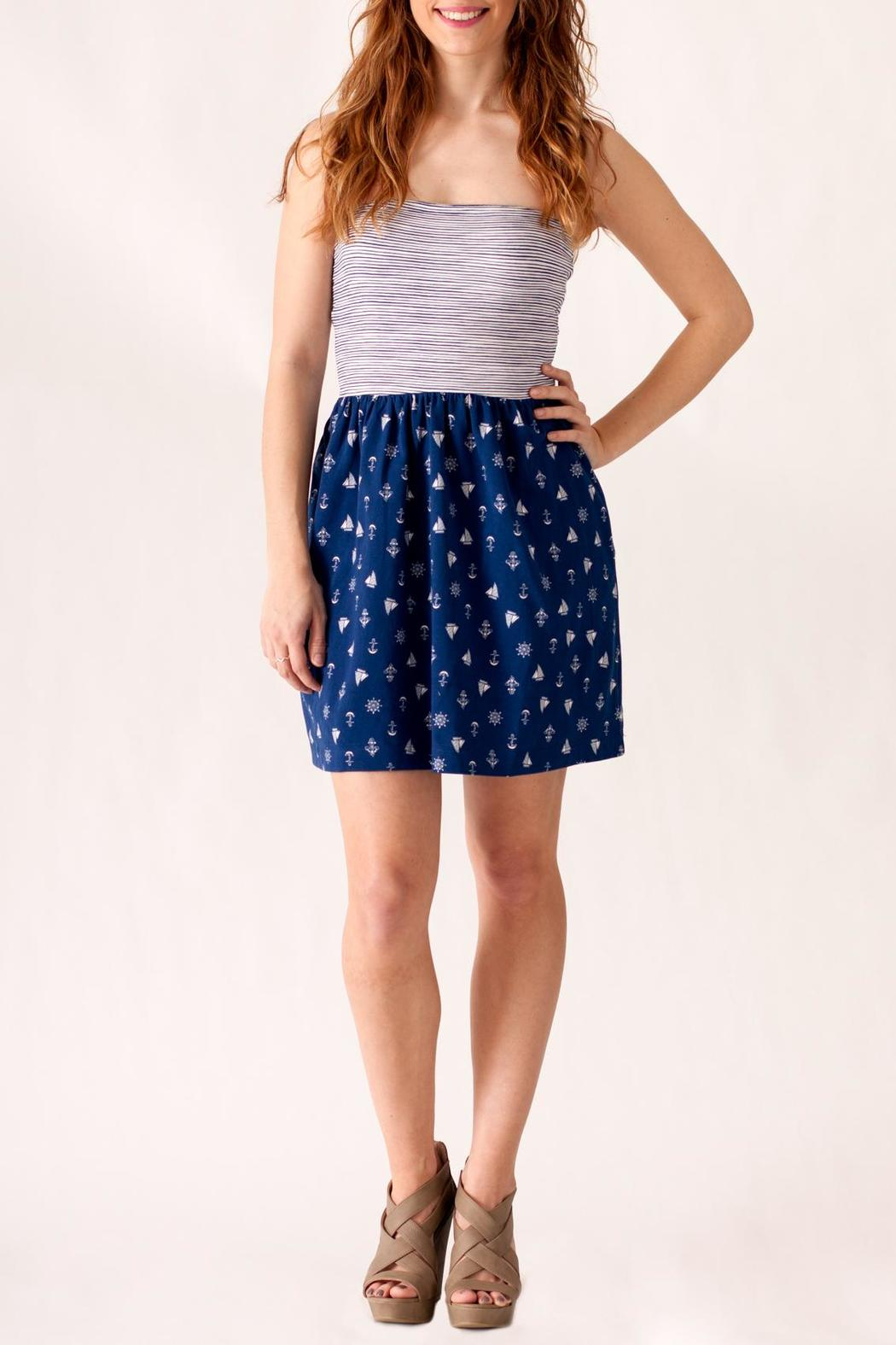 Ocean Drive Nautical Print Dress - Front Cropped Image