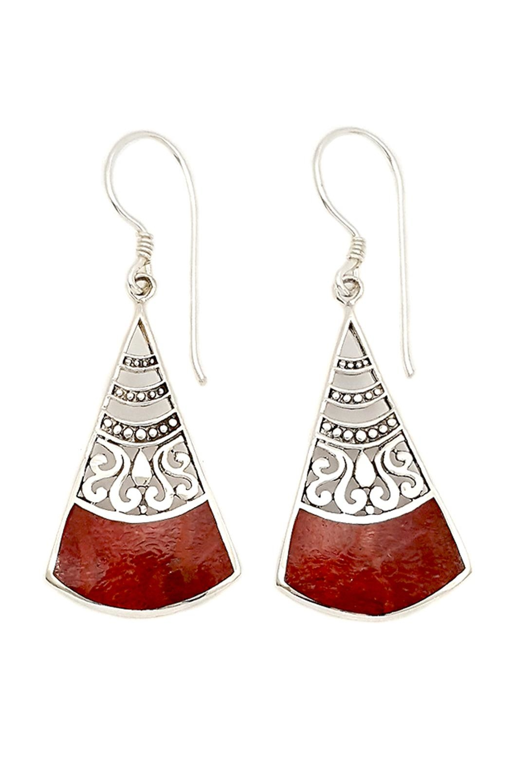 Oceania Maui Dangling Coral Earrings - Front Cropped Image