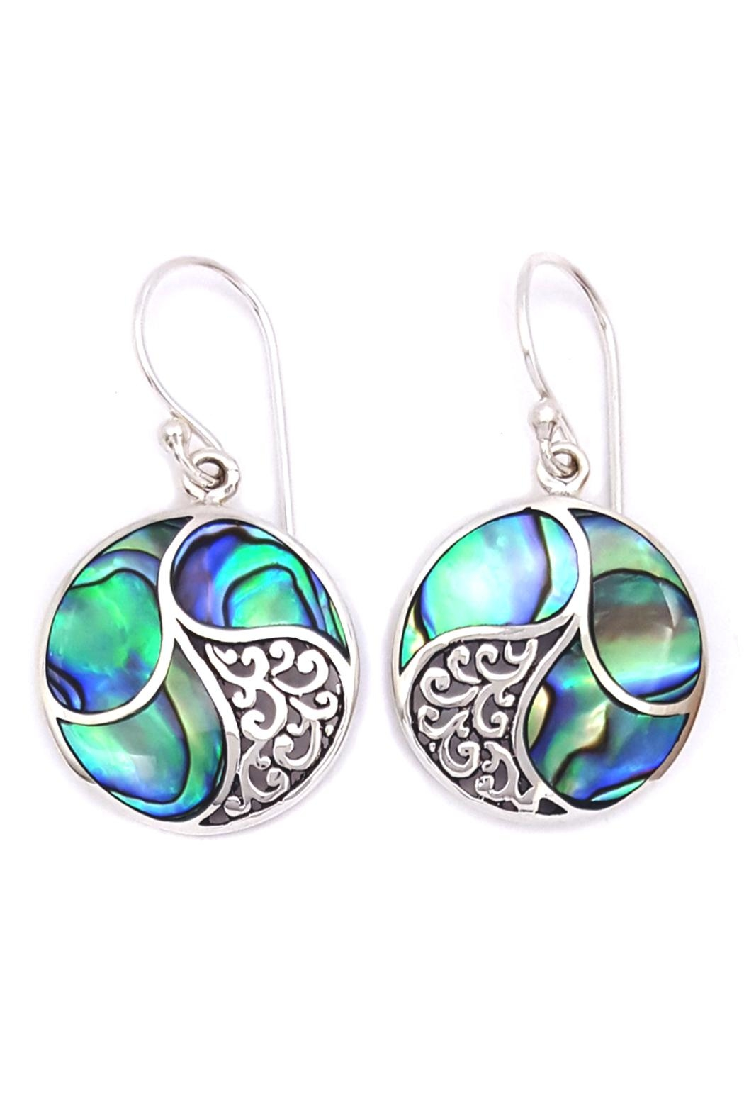 Oceania Maui Round Abalone Earrings - Front Cropped Image