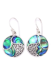 Oceania Maui Round Abalone Earrings - Front cropped