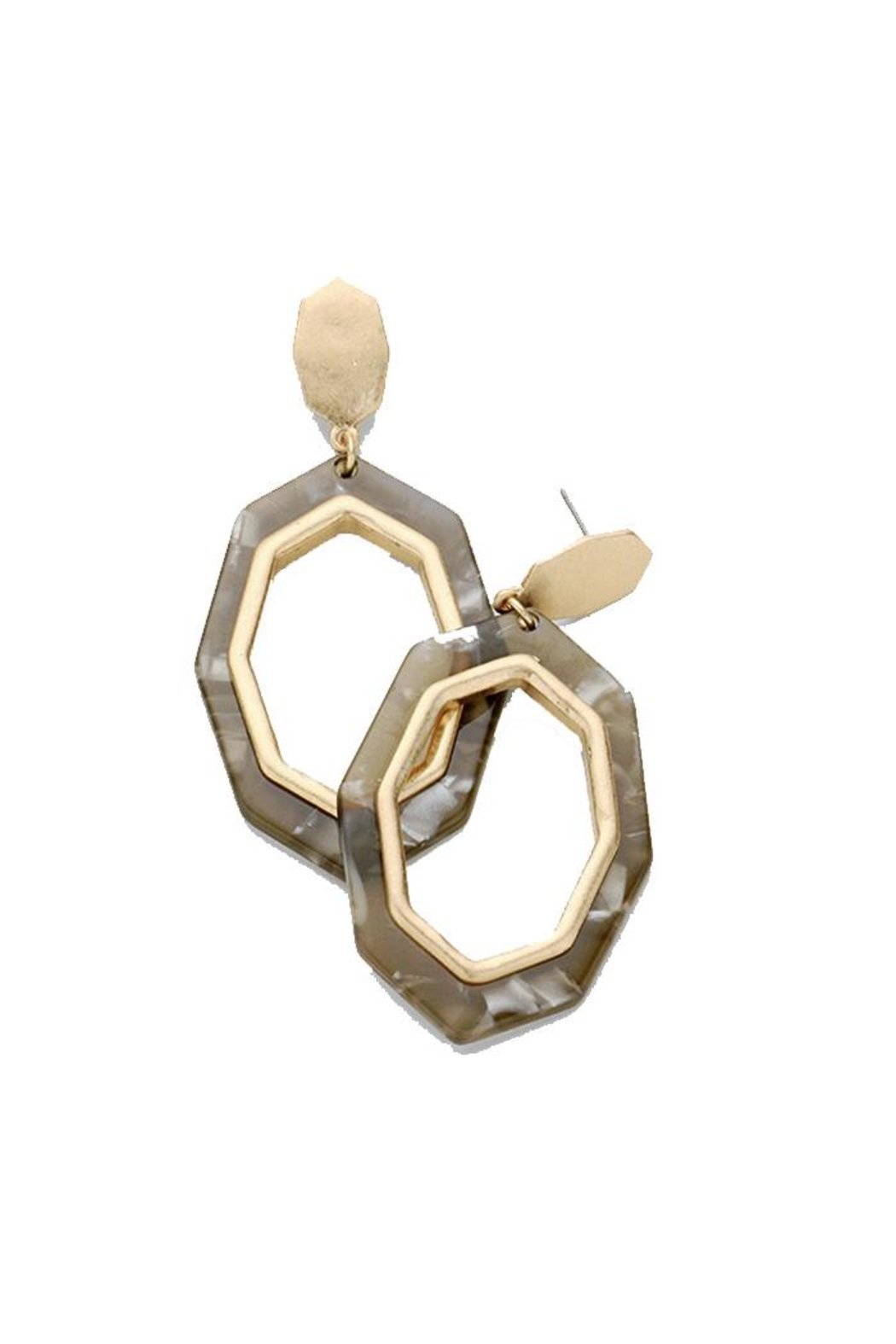 Lets Accessorize Octagon Hoop Earrings - Front Cropped Image