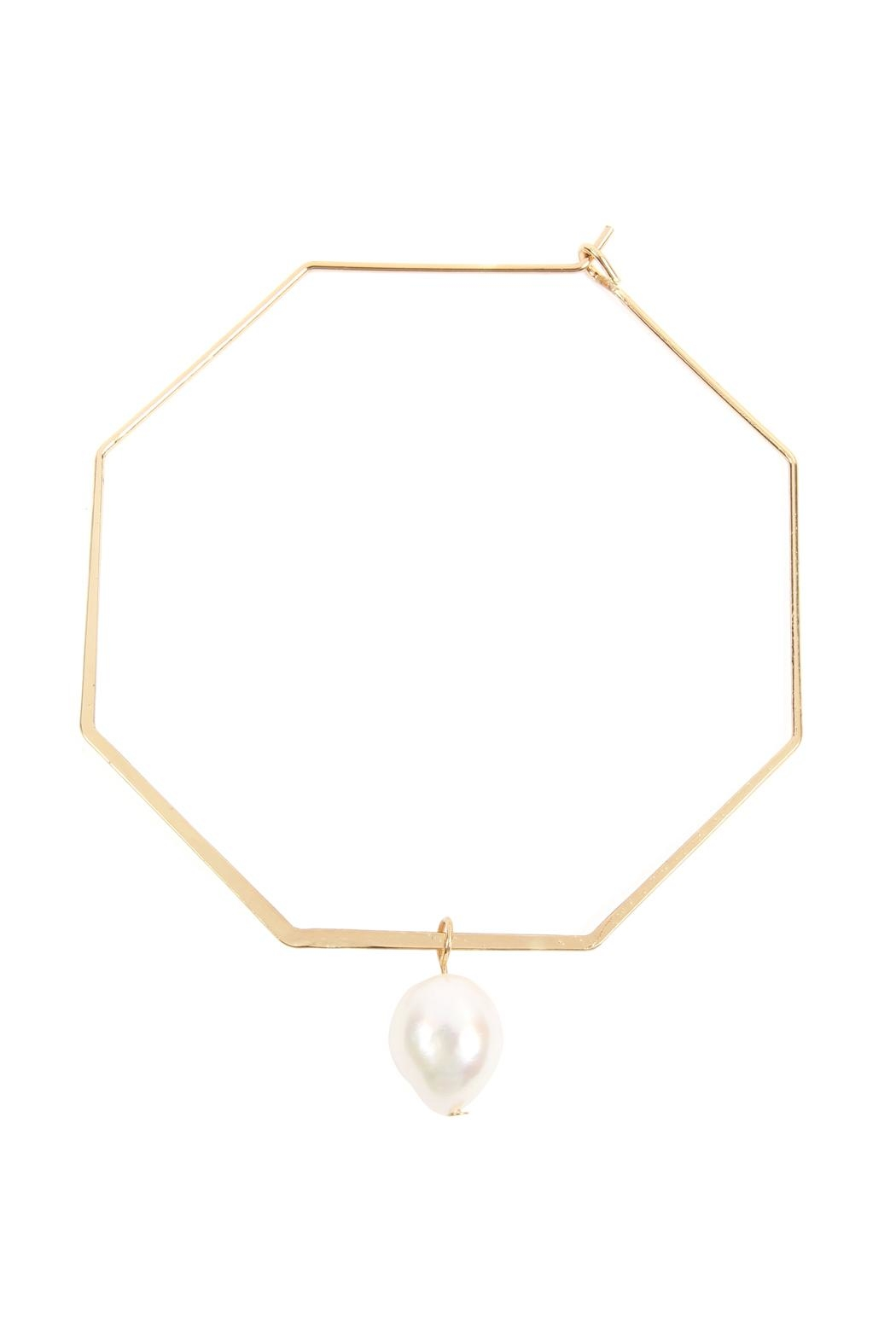 Riah Fashion Octagon-Hoop-Earrings With Teardrop-Pearl - Front Cropped Image