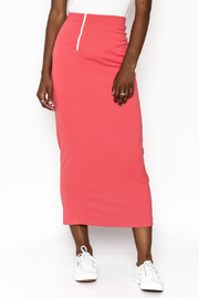 odAOMO Coral Zip Midi Skirt - Front cropped