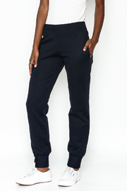odAOMO Navy Track Pants - Front cropped