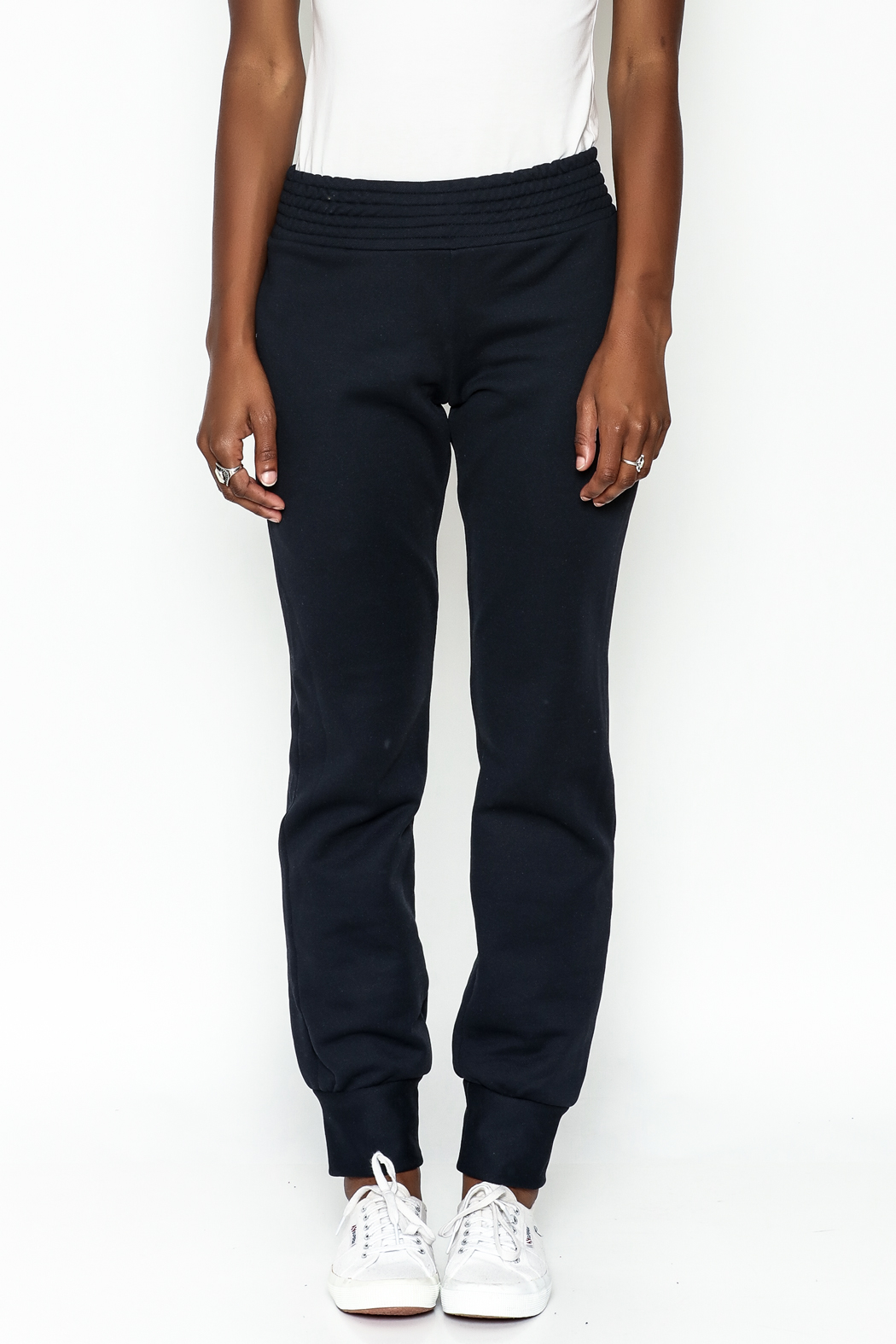 odAOMO Navy Track Pants - Front Full Image