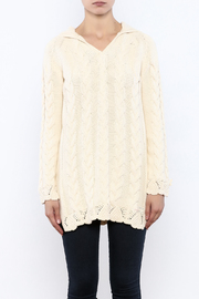 Shoptiques Product: Hooded Cable Knit Sweater - Side cropped