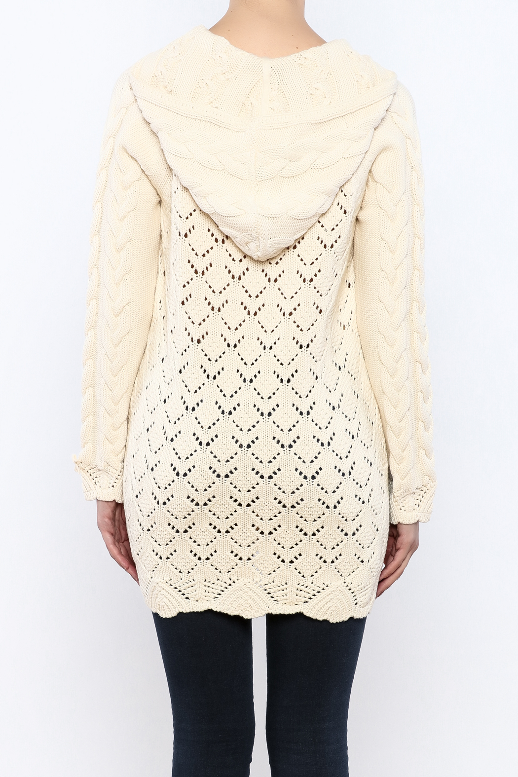 Odd Molly Hooded Cable Knit Sweater - Back Cropped Image