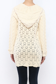 Shoptiques Product: Hooded Cable Knit Sweater - Back cropped