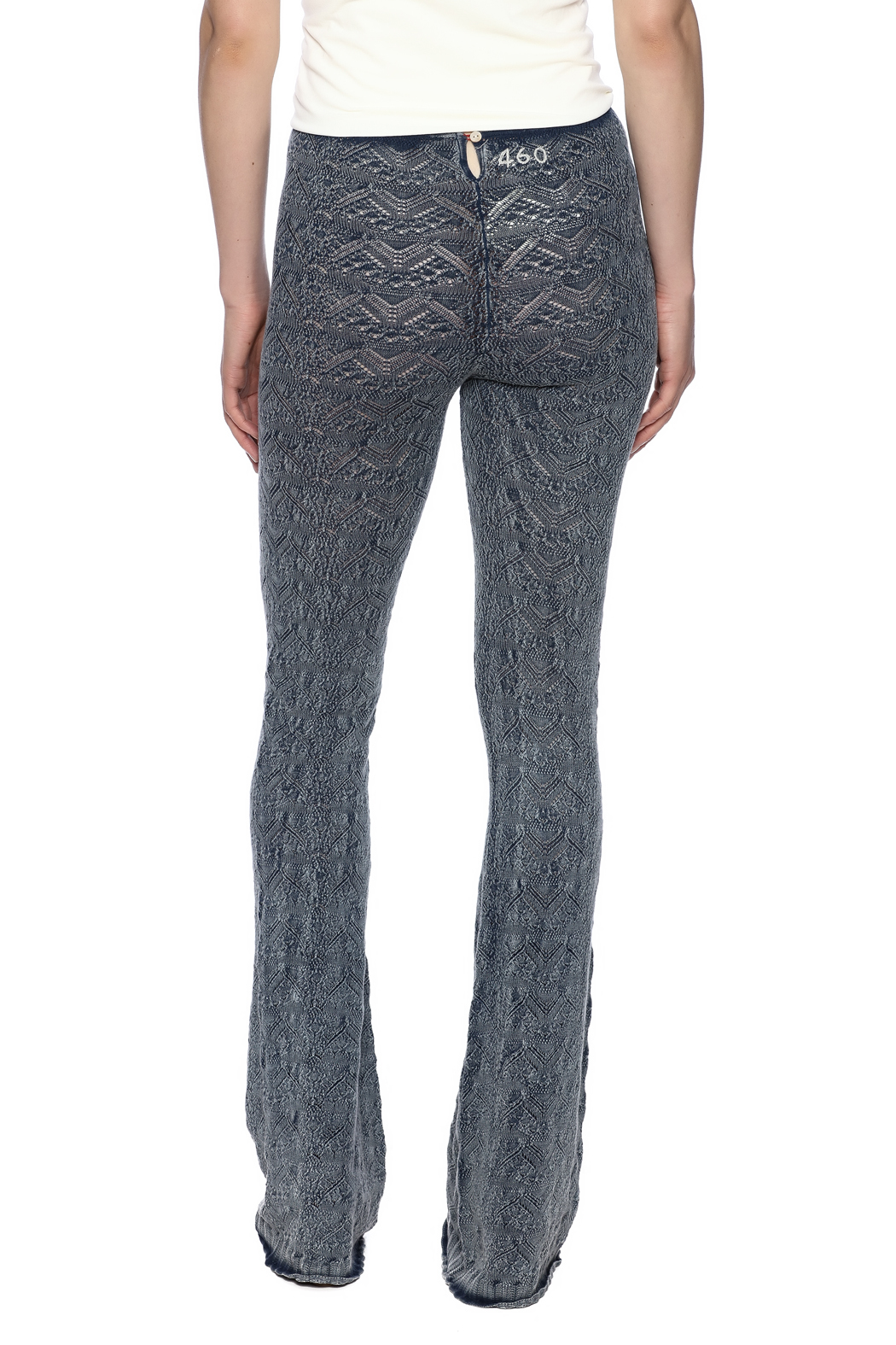 Odd Molly Knit Indigo Bootcut Legging - Back Cropped Image