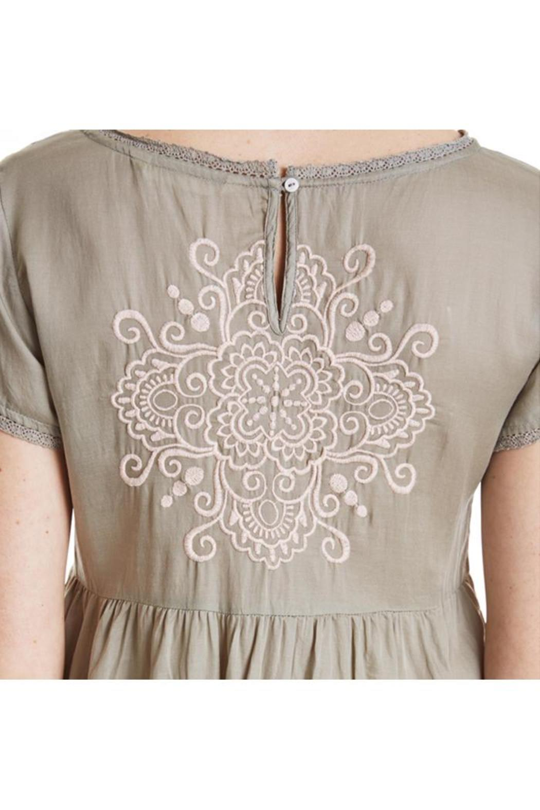 Odd Molly Sage Embroidered Dress - Side Cropped Image