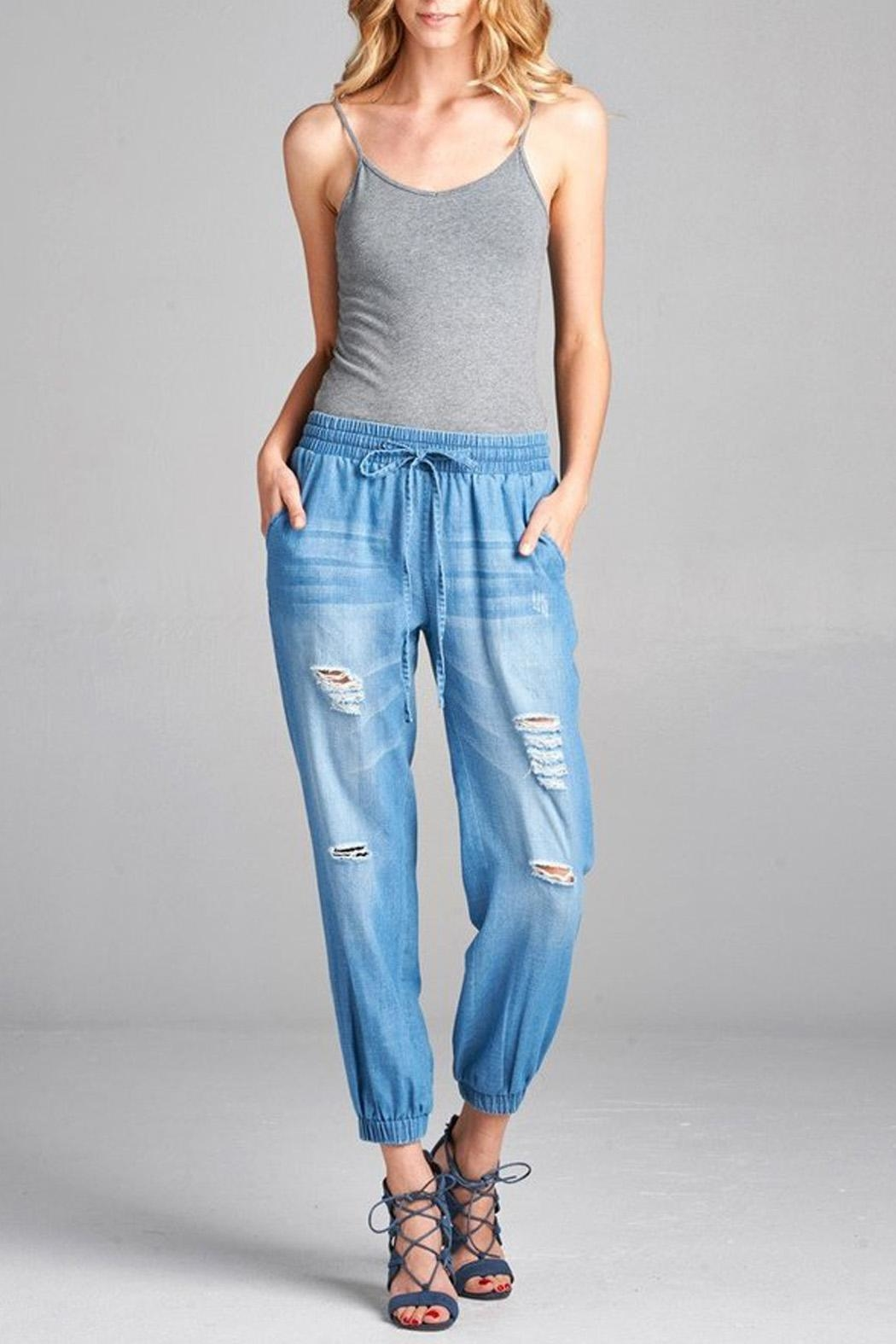 Oddi Chambray Joggers - Front Cropped Image