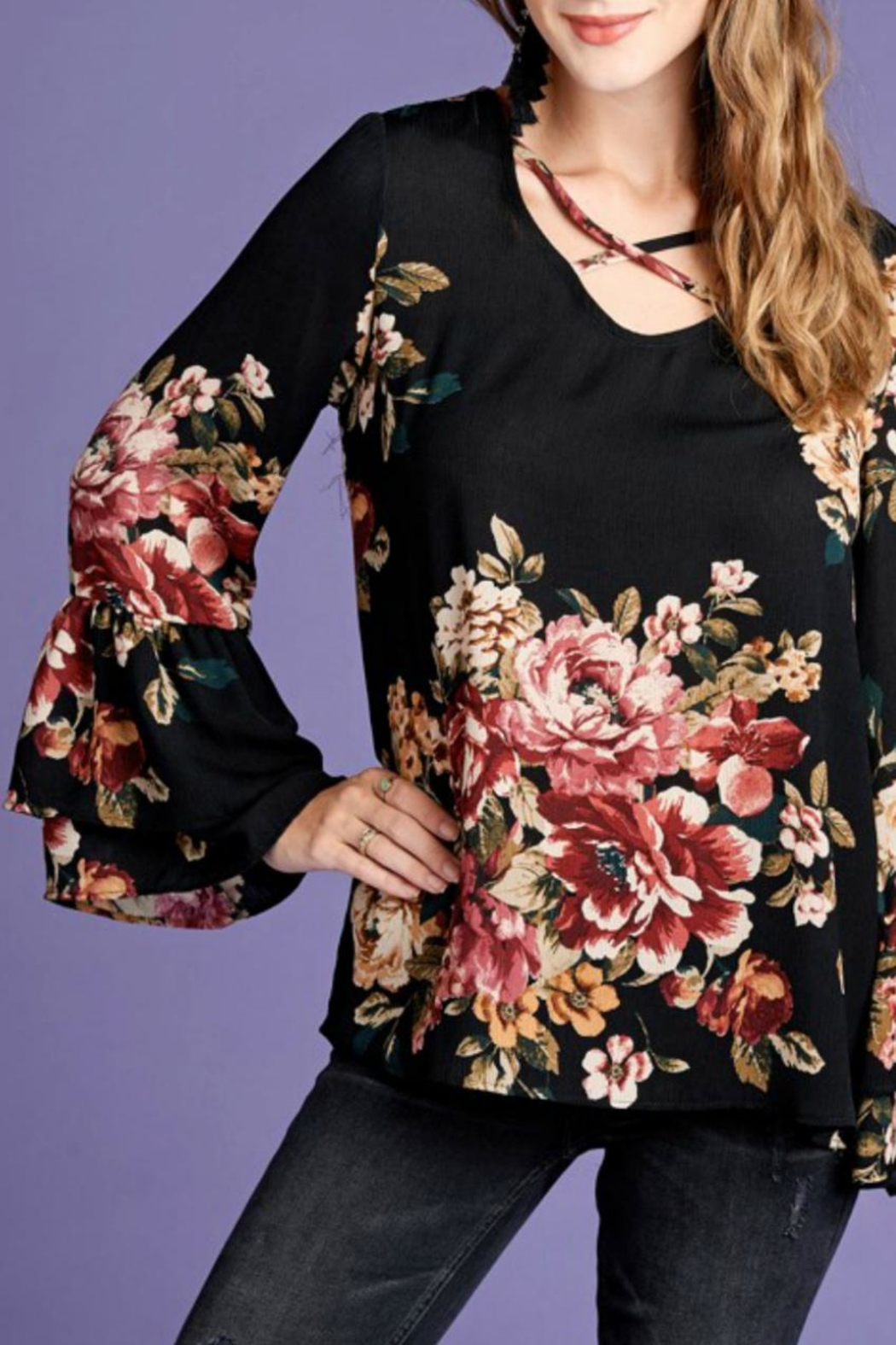 Oddi Floral Bell-Sleeve Top - Side Cropped Image