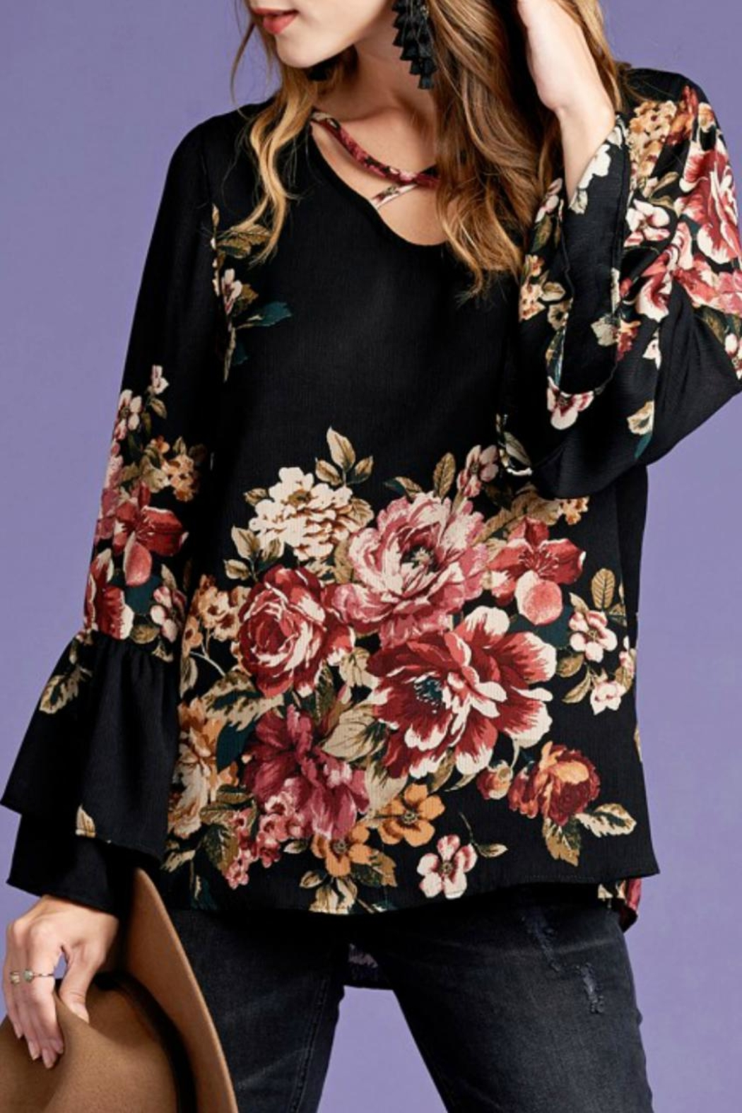 Oddi Floral Bell-Sleeve Top - Main Image