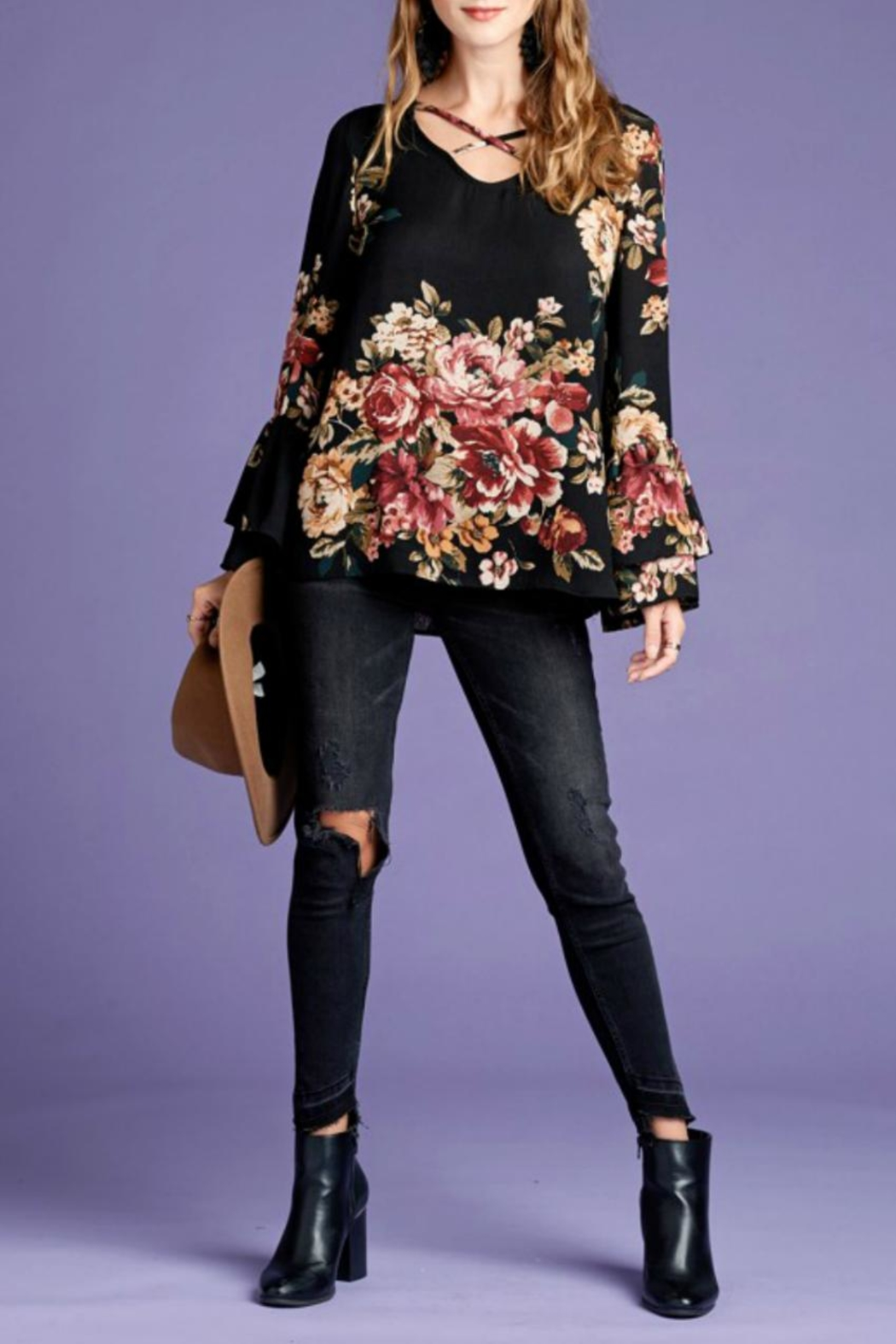 Oddi Floral Bell-Sleeve Top - Back Cropped Image