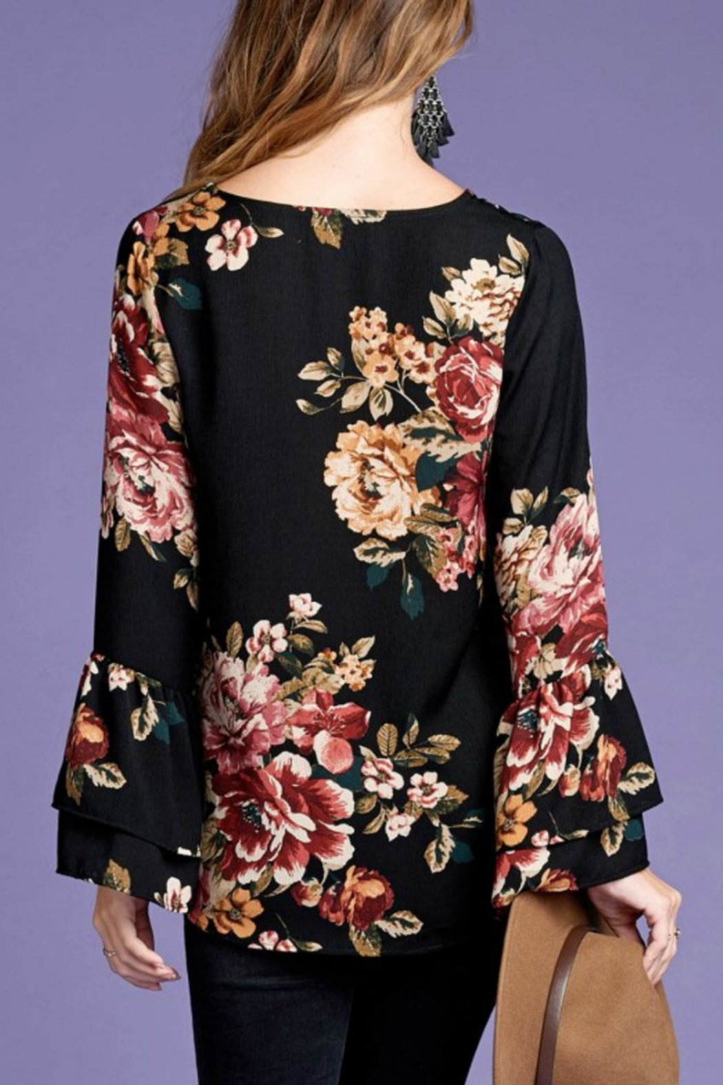 Oddi Floral Bell-Sleeve Top - Front Full Image