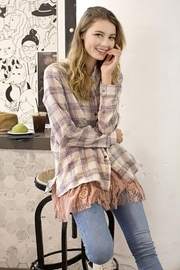 Oddi Floral Embroidered Back Plaid Button-Down Shirt - Product Mini Image