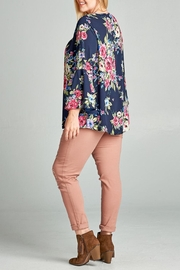 Oddi Floral Keyhole Blouse - Front full body