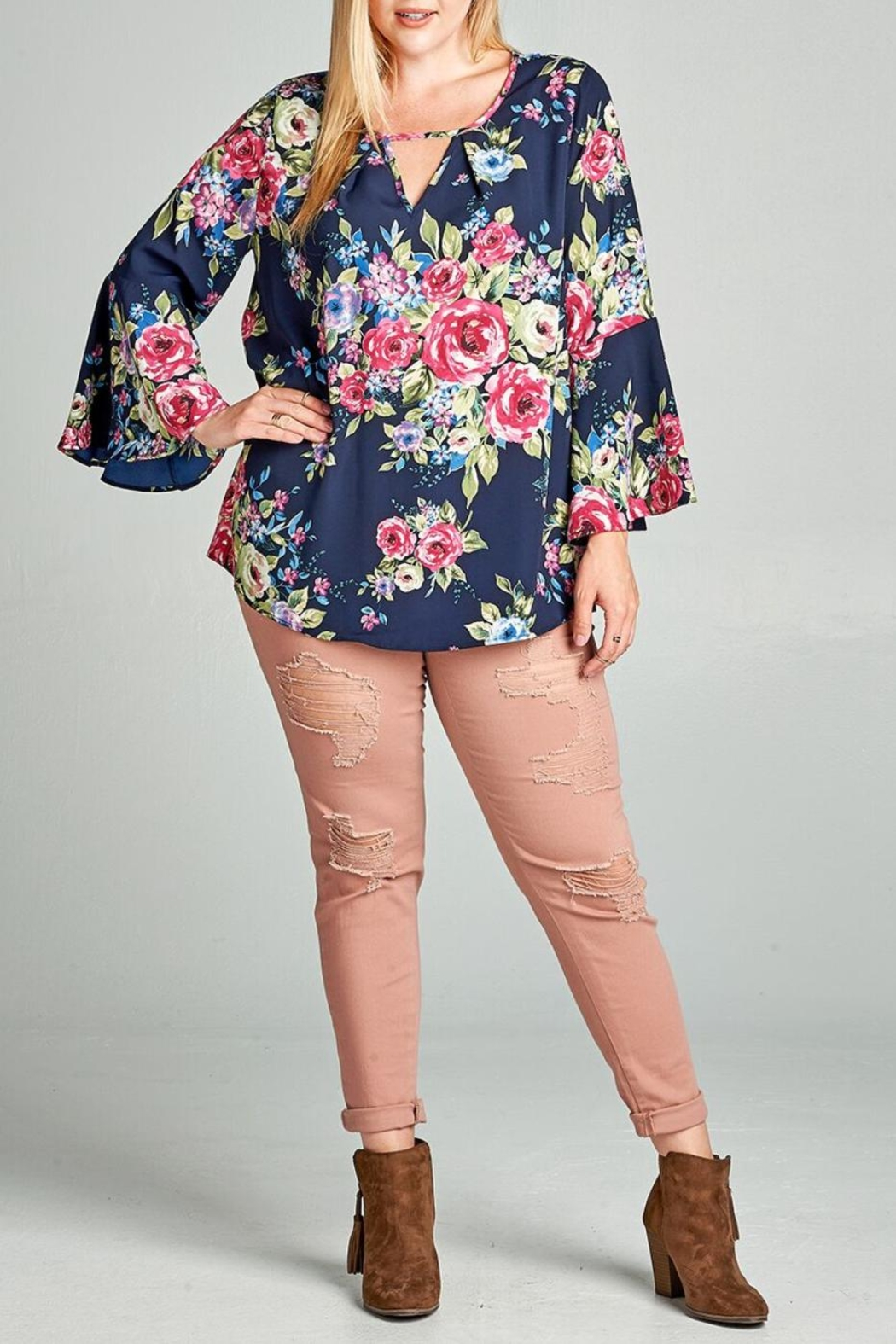 Oddi Floral Keyhole Blouse - Front Cropped Image