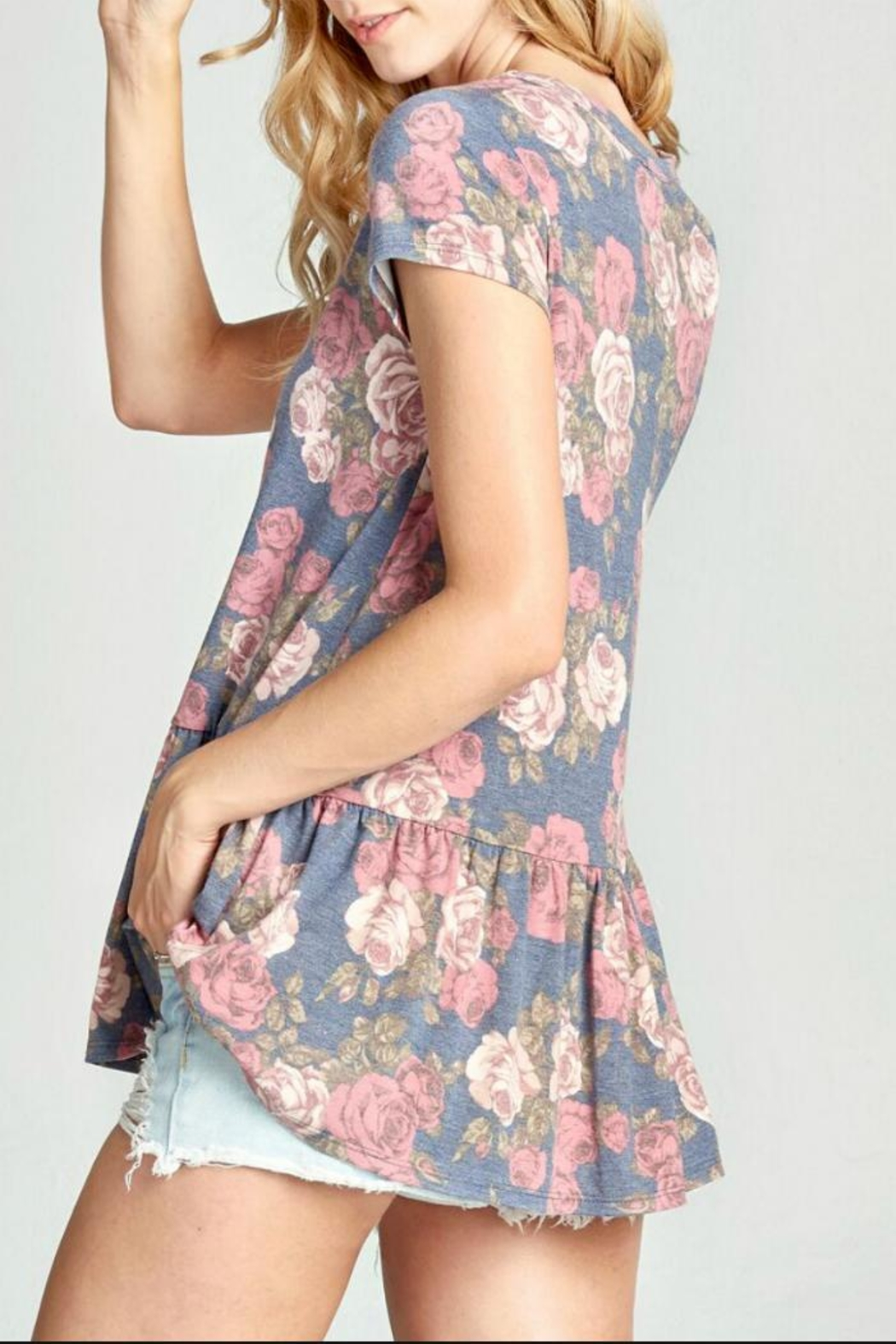Oddi Floral Keyhole Top - Front Full Image