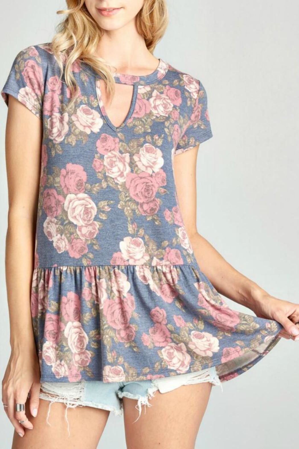 Oddi Floral Keyhole Top - Front Cropped Image