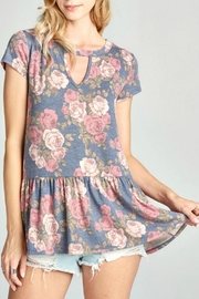 Oddi Floral Keyhole Top - Front cropped