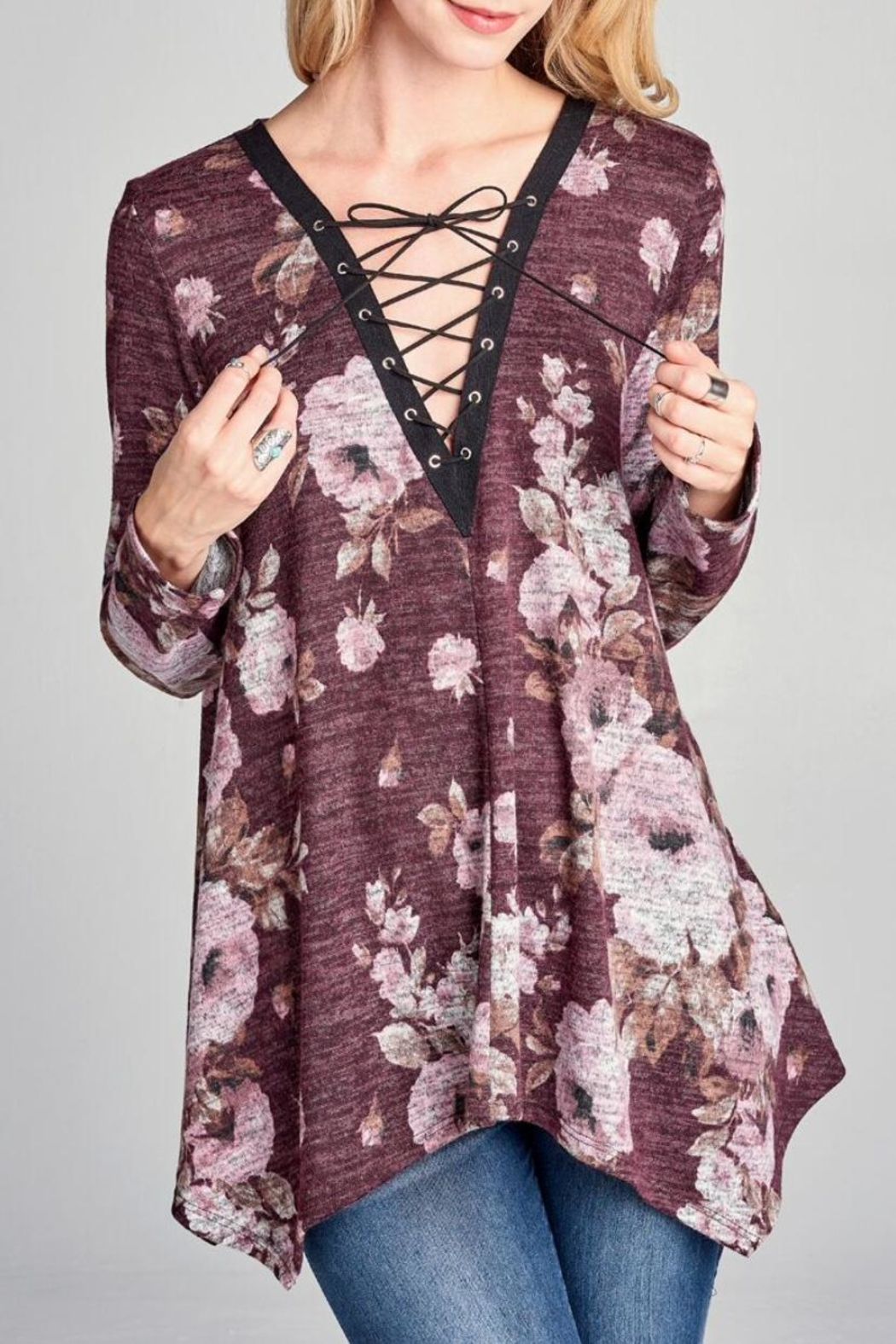 Oddi Floral Lace-Up Top - Main Image