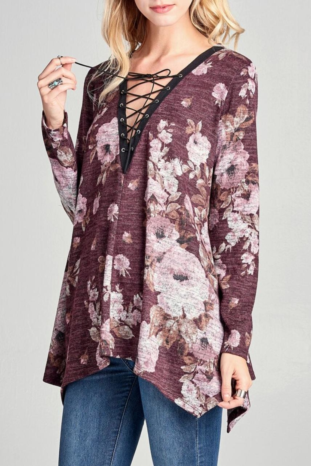 Oddi Floral Lace-Up Top - Side Cropped Image