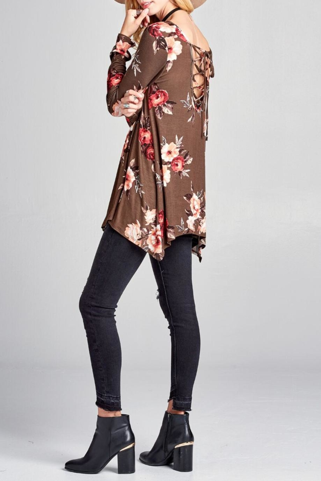 Oddi Floral Lace-Up Top - Front Full Image