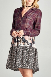 Oddi Floral Plaid Dress - Front cropped