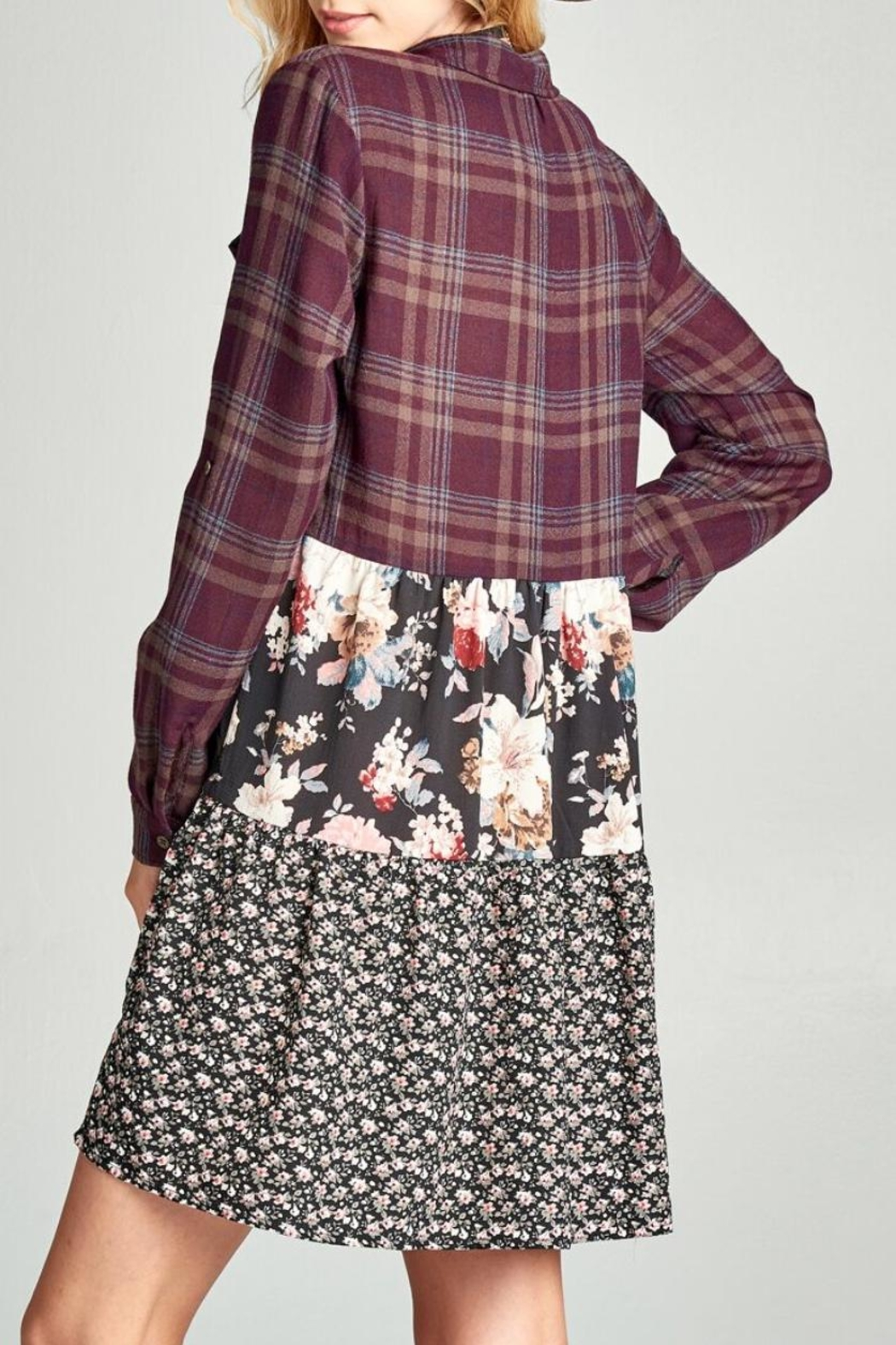Oddi Floral Plaid Dress - Front Full Image