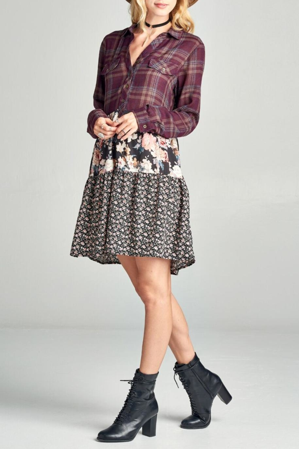 Oddi Floral Plaid Dress - Side Cropped Image