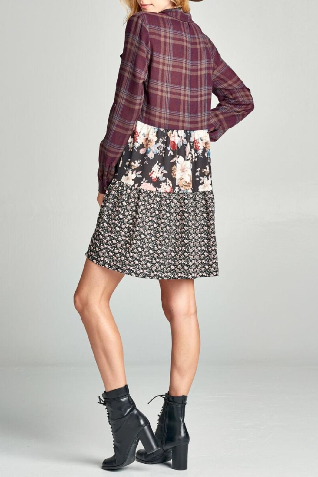 Oddi Floral Plaid Dress - Back Cropped Image