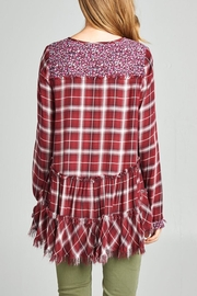 Oddi Frayed Floral Flannel Top - Other