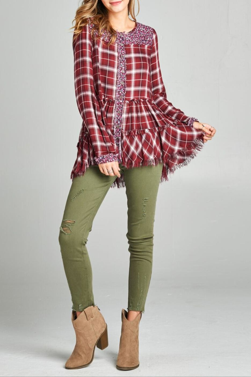 Oddi Frayed Floral Flannel Top - Main Image