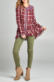 Oddi Frayed Floral Flannel Top - Product Mini Image