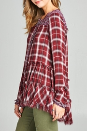 Oddi Frayed Floral Flannel Top - Back cropped